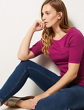Pure Cotton Slash Neck Half Sleeve T-Shirt, MAGENTA, catlanding