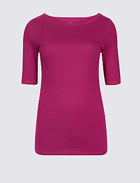 Pure Cotton Slash Neck Half Sleeve T-Shirt, MAGENTA, catlanding