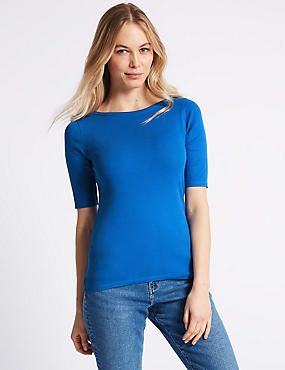 Pure Cotton Slash Neck Half Sleeve T-Shirt, BRIGHT BLUE, catlanding