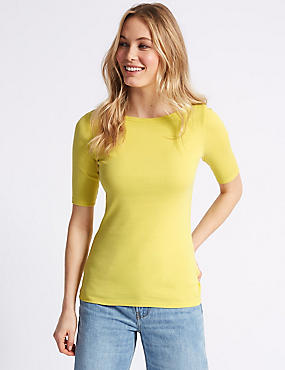 Pure Cotton Slash Neck Half Sleeve T-Shirt, MIMOSA, catlanding