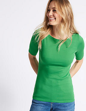 Pure Cotton Round Neck Half Sleeve T-Shirt , GREEN, catlanding