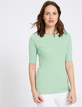 Pure Cotton Slash Neck Half Sleeve T-Shirt, PALE GREEN, catlanding