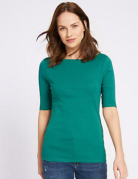 Pure Cotton Round Neck Half Sleeve T-Shirt , EMERALD, catlanding