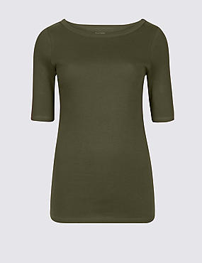 Pure Cotton Slash Neck Half Sleeve T-Shirt, KHAKI, catlanding