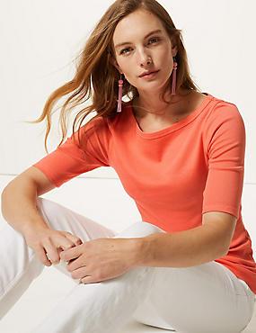 Pure Cotton Slash Neck Half Sleeve T-Shirt, BRIGHT ORANGE, catlanding