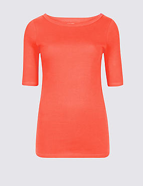 Pure Cotton Slash Neck Half Sleeve T-Shirt, BRIGHT ORANGE, catlanding