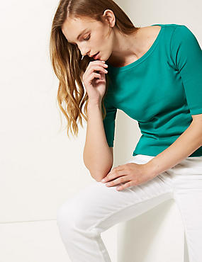 Pure Cotton Slash Neck Half Sleeve T-Shirt, LIGHT EMERALD, catlanding