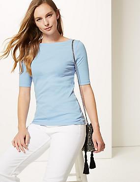 Pure Cotton Slash Neck Half Sleeve T-Shirt, CHAMBRAY, catlanding