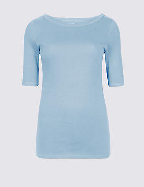 Pure Cotton Slash Neck Half Sleeve T-Shirt, CHAMBRAY, catlanding