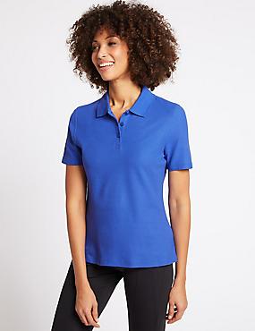 Pure Cotton Short Sleeve Polo Shirt , COBALT, catlanding