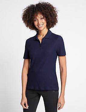 Pure Cotton Short Sleeve Polo Shirt , NAVY, catlanding