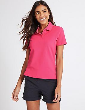 Pure Cotton Short Sleeve Polo Shirt , HOT PINK, catlanding