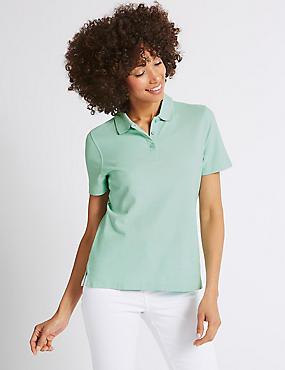 Pure Cotton Short Sleeve Polo Shirt , PALE JADE, catlanding