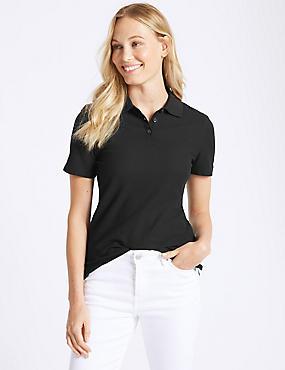 Pure Cotton Short Sleeve Polo Shirt , BLACK, catlanding