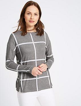 Grid Check Side Split Knitted T-Shirt, GREY MIX, catlanding
