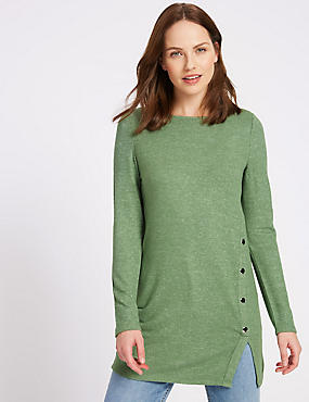 Longline Knitted Button Detail Tunic