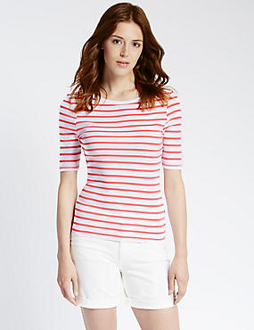 Pure Cotton Striped T-Shirt