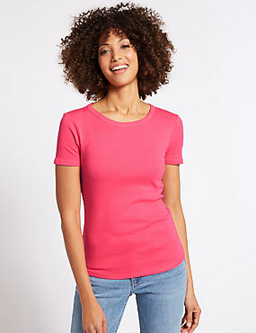 Pure Cotton Round Neck Short Sleeve T-Shirt , BRIGHT PINK, catlanding