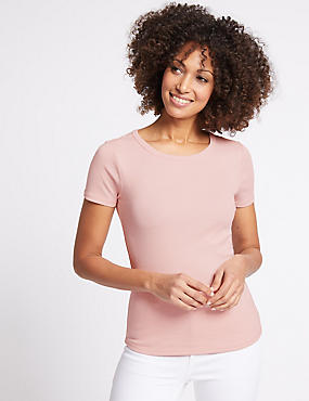 Pure Cotton Round Neck Short Sleeve T-Shirt , BLUSH, catlanding