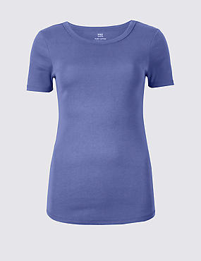 Pure Cotton Round Neck Short Sleeve T-Shirt , DARK LILAC, catlanding