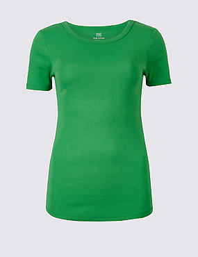 Pure Cotton Round Neck Short Sleeve T-Shirt , GREEN, catlanding