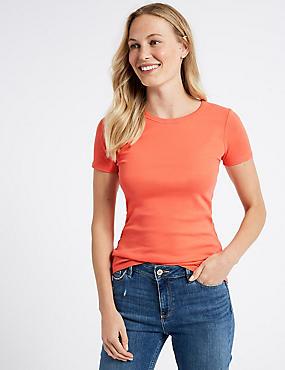 Pure Cotton Rib Crew Neck T-Shirt, BRIGHT ORANGE, catlanding