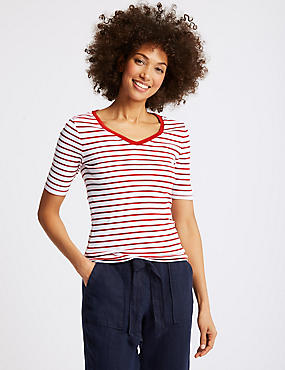 Pure Cotton Striped V-Neck T-Shirt, RED MIX, catlanding