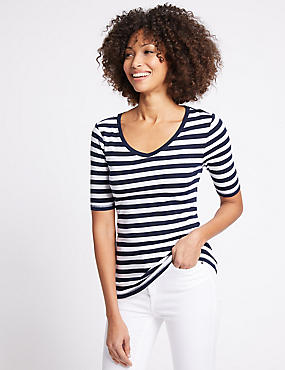 Pure Cotton Striped Half Sleeve T-Shirt, NAVY MIX, catlanding