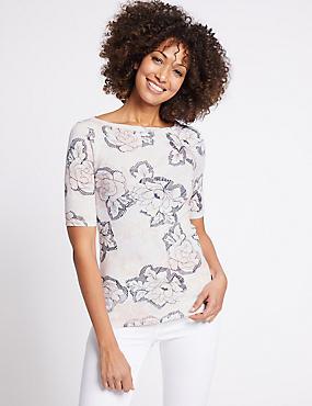 Pure Cotton Floral Print Round Neck T-Shirt, WHITE MIX, catlanding