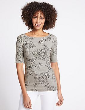 Pure Cotton Floral Print T-Shirt , GREY MIX, catlanding