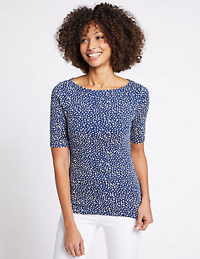 Pure Cotton Spotted Slash Neck T-Shirt