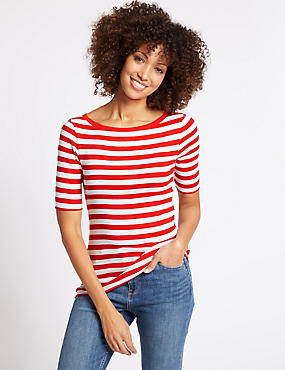 Pure Cotton Striped Half Sleeve T-Shirt , RED MIX, catlanding