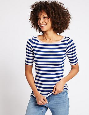 Pure Cotton Striped Half Sleeve T-Shirt , BLUE MIX, catlanding