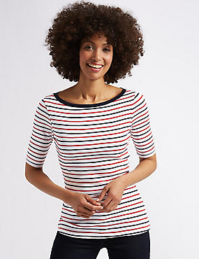 Pure Cotton Striped Half Sleeve T-Shirt , NAVY MIX, catlanding