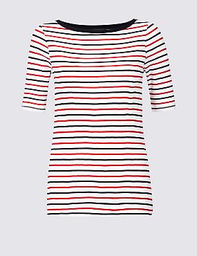Pure Cotton Striped Half Sleeve T-Shirt , NAVY MIX, catlanding