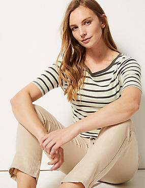 Pure Cotton Striped Half Sleeve T-Shirt , KHAKI MIX, catlanding