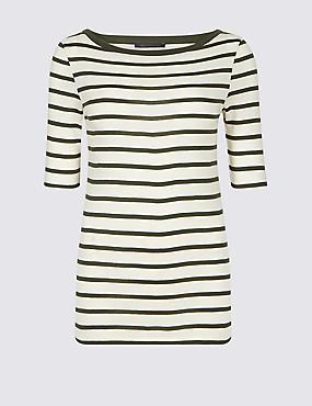 Pure Cotton Striped Half Sleeve T-Shirt , KHAKI MIX, catlanding