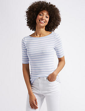 Pure Cotton Striped Half Sleeve T-Shirt , CHAMBRAY MIX, catlanding