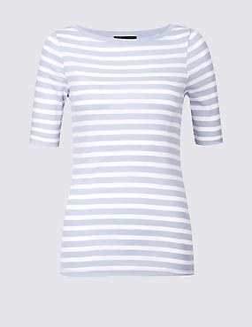 Pure Cotton Striped Half Sleeve T-Shirt , CHAMBRAY MIX, catlanding