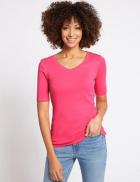 Pure Cotton V-Neck Half Sleeve T-Shirt, BRIGHT PINK, catlanding