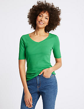 Pure Cotton V-Neck Half Sleeve T-Shirt, GREEN, catlanding