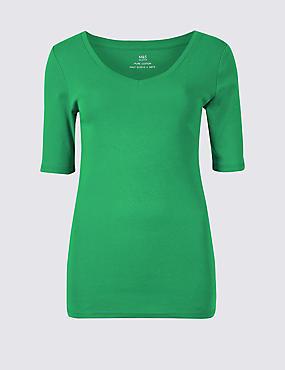Pure Cotton V-Neck Half Sleeve T-Shirt, GREEN, catlanding