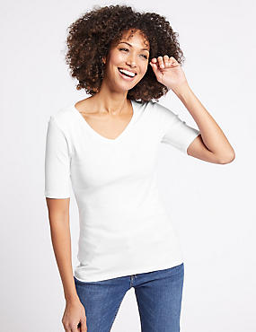 Pure Cotton V-Neck Half Sleeve T-Shirt, , catlanding