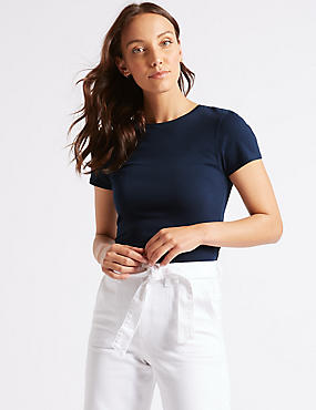 Stretch Round Neck Short Sleeve T-Shirt, NAVY, catlanding