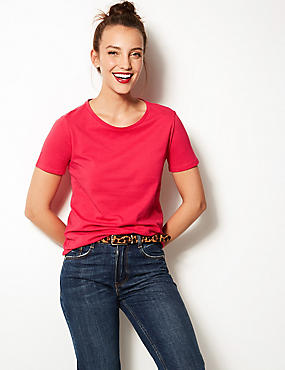Pure Cotton Crew Neck T-Shirt, BRIGHT PINK, catlanding