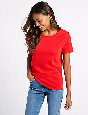 Pure Cotton Round Neck Short Sleeve T-Shirt , RED, catlanding