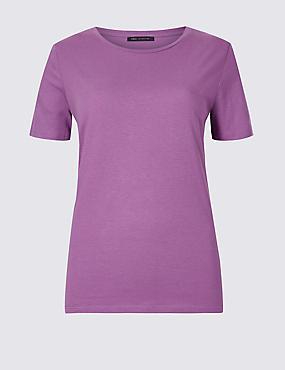 Pure Cotton Crew Neck T-Shirt, DARK LILAC, catlanding
