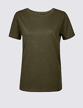 Pure Cotton Crew Neck T-Shirt, DARK OLIVE, catlanding