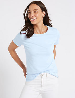Pure Cotton Crew Neck T-Shirt, LIGHT CHAMBRAY, catlanding