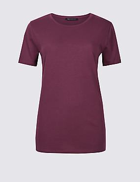 Pure Cotton Crew Neck T-Shirt, BURGUNDY, catlanding